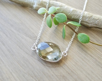 Sterling Silver, Green Amethyst, Necklace, Genuine Green, Amethyst Necklace, Faceted Gemstone, Pale Green, Simple Necklace, Modern Necklace
