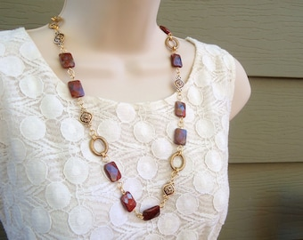 Long Necklace.Red Jasper Stone.Dangle Earrings.Jewelry Set.Gold.Silver.Statement Necklace.Chunky.Metal.Gemstone.Bridal.Holiday.Handmade.