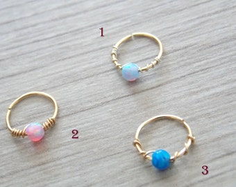 Opal cartilage earring, helix earring, tragus earring, Small Opal cartliage Ring, tiny hoop nose, Extra Small Gold Opal Nose Ring