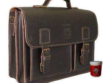 Briefcase FARADAY brown organic leather - BARON of MALTZAHN