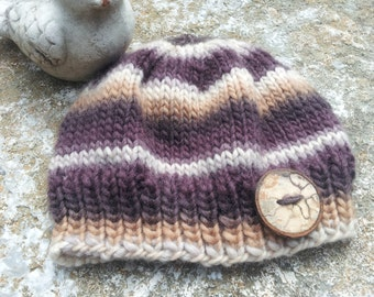 Wool Baby Cloche, Hand Knit, Wool Baby Hat, Hardwood Button, Baby Girl, Hand Knit, Warm, 6-12 Month, Unique Hat, One of a Kind, Winter Hat