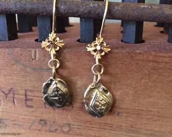 14k Ancient relic earrings -Tile