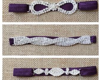 Plum Rhinestone Headband, Dark Purple Rhinestone Headband, Flower Girl Headband, Rhinestone Connector- Wedding