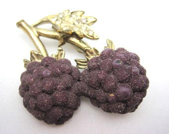 Vintage Berry Brooch - Sugared Raspberry - Costume Jewelry