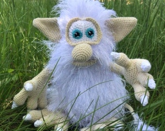 Custom Crochet stuffed doll Interior doll Booba Troll doll White fluffy toy Tomte Nisse Brownie Cute crochet monster Toddler gift Funny toy