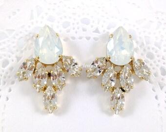 WHITE OPAL Wedding Earrings // Swarovski Crystal Cluster Earrings // Bridal Prom Large Statement Earrings