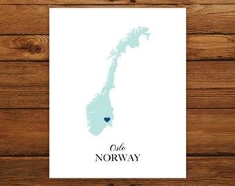 Norway Country Love Map Silhouette 8x10 Print - Customized