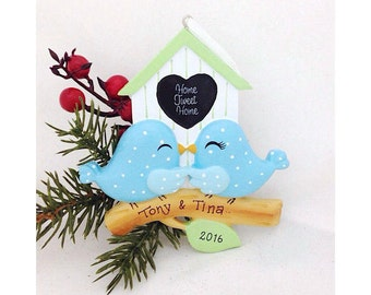 Birdhouse Couple Personalized Christmas Ornament - Bluebirds with heart - Custom Names or message - Our first Christmas