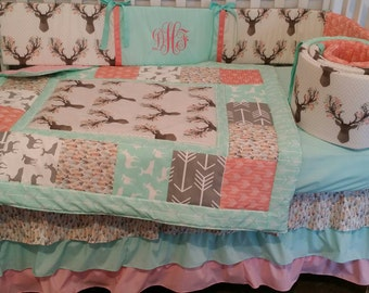 Baby Girl bedding, woodland Floral deer head, Arrow, Woodsy girl set, coral, grey, mint,pink, deer, feathers, arrows, floral,baby girl