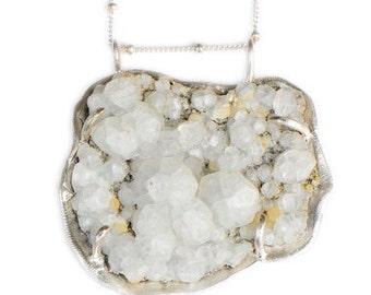 Frosty Zeolite Seascape Pendant Necklace Quartz Crystal White Cluster Crater Sterling Organic