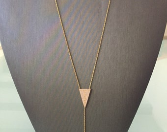Double Arrow Lariat Necklace-Yellow Gold