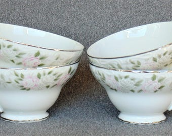 4 Porcelain Footed Cups Sheffield Fine China Classic 501 Rose Pattern Pink & White Roses Excellent BRAND NEW CONDITION