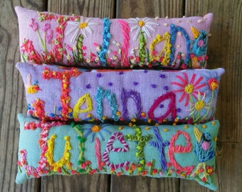 Nursery Decor Freehand Embroidered Bohemian Letters Custom Name Pillow  Up To FIVE Letters