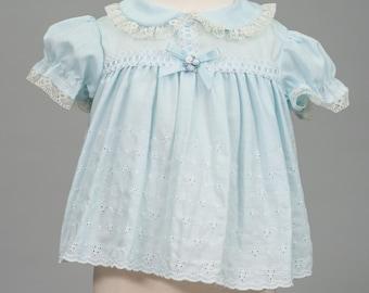 Vintage Baby Blue Eyelet Dress (Size New Born)