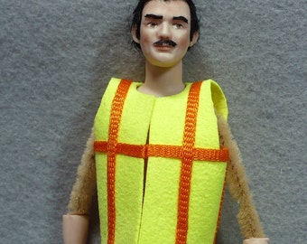 1-12 scale Safety Vest construction worker miniature dollhouse man yellow ultrasuede orange trim limited edition handmade