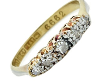 Vintage Five Diamond, 18ct Gold And Platinum Ring, Free Shipping.