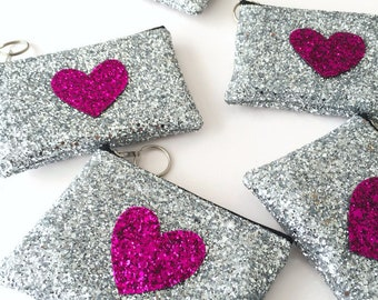 Heart Coin Purse, Glitter Wallet, Heart Purse, Glitter Purse, Glitter Wallet, Coin Pouch, Change Purse, Zipper Coin Purse, Gift for Her