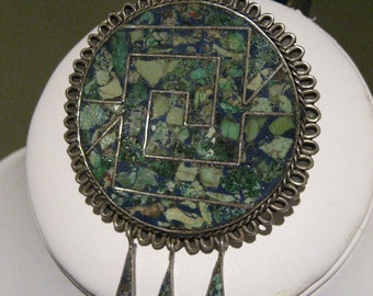 Large Vintage Sterling Silver and Inlaid Turquiose Brooch with 3 Dangles - Made in Mexico