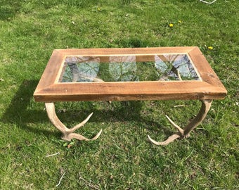 Glass to elk Antler coffee table