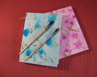Light Aqua & Light Pink Watercolor Journal. Items #3010 and #3011.