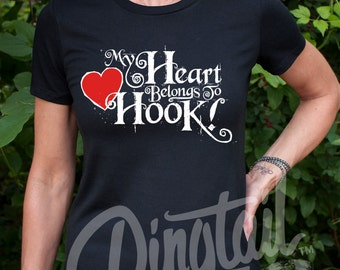 My Heart Belongs to Hook (Once Upon a Time, Captain Hook) Women's OUAT T-Shirt, Black or Navy