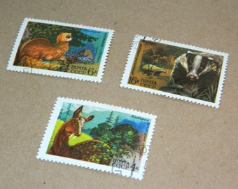 Animal Soviet Vintage Postal Stamps Set of 3 Wild animal postage scrapbooking supplies Souvenir Russian collectibles USSR nature lover gift