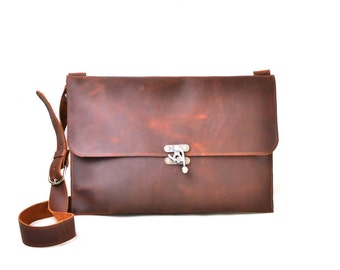 Large Leather Messenger Bag - Men's Leather Satchel - Distressed Leather Laptop Bag - IN STOCK