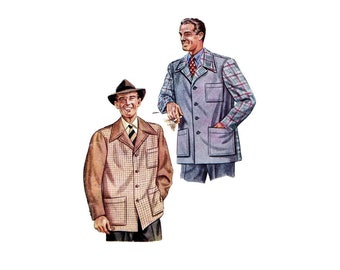 1940s Mens Sports Jacket McCall 5628 Vintage Sewing Pattern Chest 38 - 40