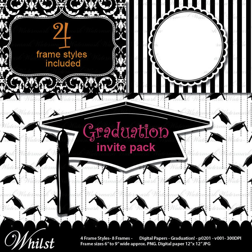 Graduation Clip Art Digital Paper Grad Invitation Graduation Cap