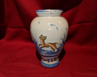 Vintage V.G. Porcelain Vase Hand Painted Dog