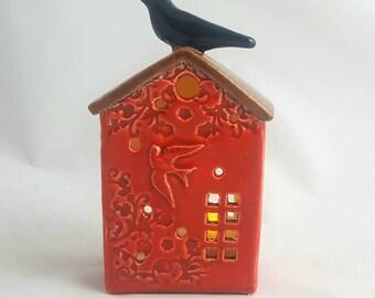 Luminaries, ceramic house luminary, pottery house candle holder, clay house,pottery anniversary, birdhouse luminary, garden house luminary