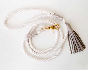 Rope Dog Leash - Charcoal Grey - Pet Lead - Italian Leather Tassel