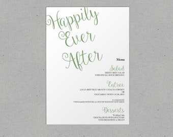 Happily Ever After Wedding Menu Personalised