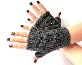 Grey Knit Owl Fingerless Gloves. Knitted Short Fingerless Mittens. Arm Warmers. Wrist & Hand Warmers. Women Accessories.