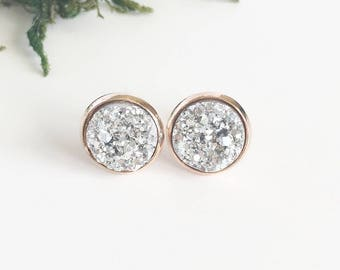 Silver Faux Druzy on Rose Gold Studs
