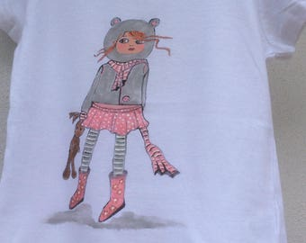 """""""Oursette"""" on white T-shirt, short sleeves, 6 years"""