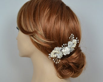 Vintage Inspired Lace Bridal Hair Comb Adorned with Swarovski Pearls Enameled Flower and Sparkly Crystals - Ships in 3-5 Business Days