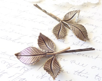 Golden Ox Brass Leaf Branch Bobby Pin Set - Leaf Hair Pins - Woodland Collection - Whimsical - Nature - Bridal