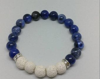 men's or women's aromatherapy bracelet / essential oil bracelet / gemstone stretch bracelet / oil diffuser bracelet