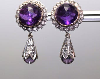 Antique 14k Yellow gold Natural Amethyst Diamond stud dangle Victorian Earrings