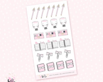 Pink planner girl mini sheet - 25 stickers for the Erin Condren, Personal planners, Travelers notebooks