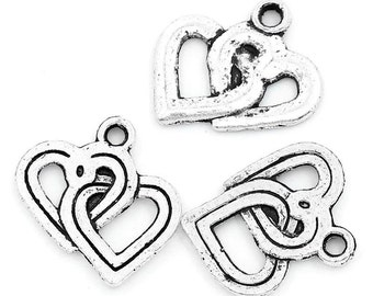 25 Pieces Antique Silver Entwined Heart Charms