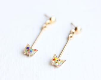 Butterfly Dangle Earrings, Butterfly Earrings, Dangle Earrings, Butterfly Studs, Enamel Butterfly Studs, Enamel Earrings, Enamel Studs