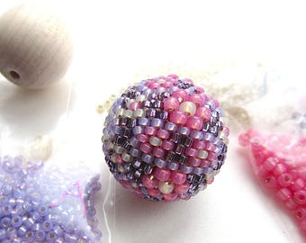 Rose and Violet Beaded Bead Kit, 25mm Focal, Beadweaving DIY, Purple Pink Cream Opal, Peyote Stitch Kit