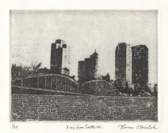 VIEW FROM SOUTHSIDE original ltd edition etching of Pittsburgh