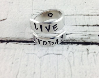 Live Today hand stamped wrapped ring
