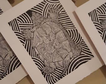 Grandmother Turtle Linocut print