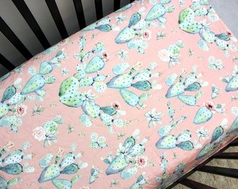 Cactus Baby Bedding, Pink Blue Girl Crib Quilt, Cactus Baby Quilt