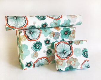 gift wrapping printed paper roll FLORAL AQUA blue green 24x33 inch A1 size - set of 3