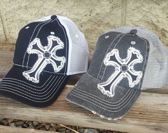 Bling Cross Hats, Rhinestone Cross Trucker caps Many colors available, Scroll through pictures to see other colors!